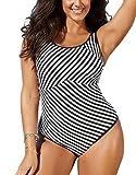 FlatterMe Womens Tummy Control Swimsuit, Black White Stripe Swimwear(A18037,Black-White,XL)