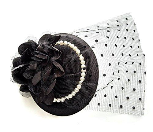 Fascinator Hair Clip Head Hoop Veil Wool Flower Pearl Hat Derby Cocktail Party (Black) (Mini Hat With Veil)