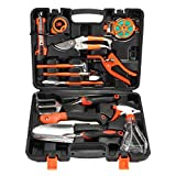 Garden Tools Kit, Pathonor 12-Pieces Plant Care Tool All-in-One Home Improvement Tool Sets with Carrying Case Include Secateurs, Trowel Pruners, Pruning Saw, Rake