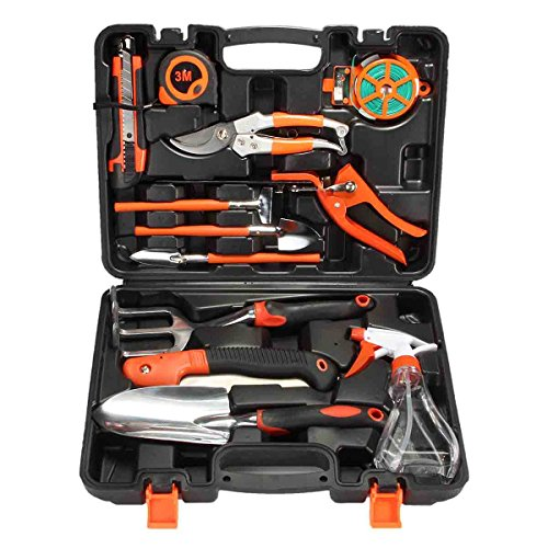 (PATHONOR Garden Tool Set, 12 Piece Garden Heavy Duty Tools Set Kit with Hard Storage Case, Secateurs, Pruning Saw, Trowel Pruners, Rakes - Garden Gifts for Men & Women)
