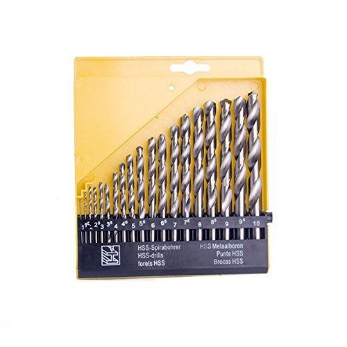 Agile-shop 19pc Twist High Speed Steel Drill Set Drilling Bit Metal Metric Tool 1mm to 10mm (Metric Twist)