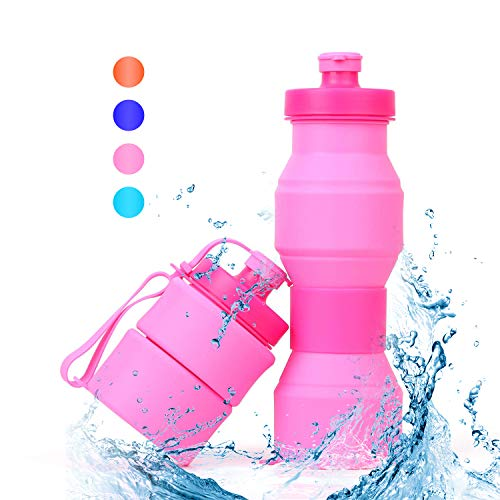SWEET JASMINE Collapsible Sports Water Bottle 800ml, Leak-Proof Food-Grade Silicone Travel Drink Bottle for Gym and Outdoor Activities Like Hiking and Cycling, 27oz ()