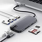 USB C Hub,BEAOK USB Type C Adapter 8 in 1 Ultra Slim Aluminum Gigabit Ethernet,Type C 3 USB 3.0 Ports, HDMI Output,SD/TF Card Reader MacBook Pro Others USB C Devices, Grey