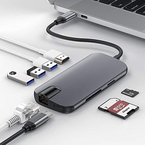 USB C Hub,BEAOK USB Type C Adapter 8 in 1 Ultra Slim Aluminum with Gigabit Ethernet,Type C and 3 USB 3.0 Ports, HDMI Output,SD/TF Card Reader for MacBook Pro and Others USB C Devices(Grey)