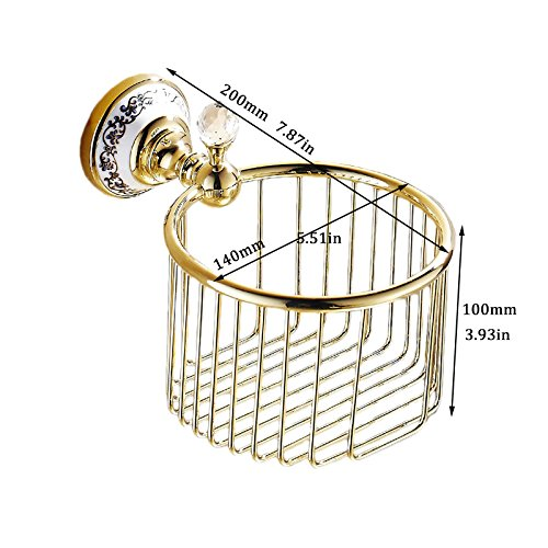OWOFAN Toilet Paper Basket Shower Storage Holder Bathroom Shelf Wall Mounted Luxury Ceramics Deco Brass Gold WF-6313K