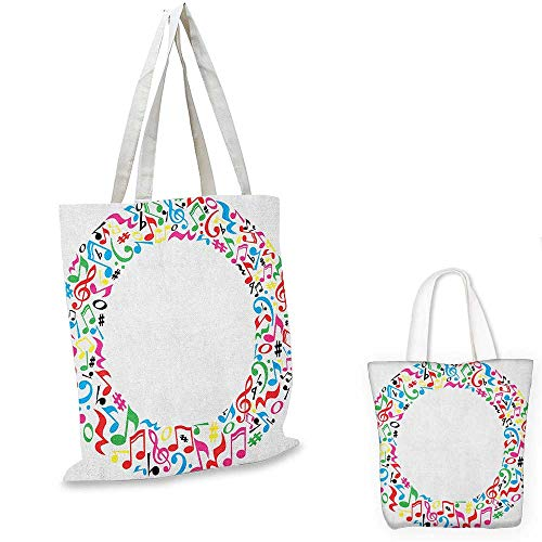 Letter O canvas shoulder bag O Character Capitalized with Collection of Multicolored Musical Elements Alphabet canvas lunch bag Multicolor. 12