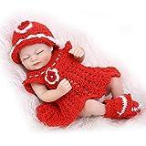 Nicery Reborn Baby Doll Hard Simulation Silicone Vinyl 10inch 26cm Waterproof Bathe Toy Gift Red Dress Girl Eyes Close