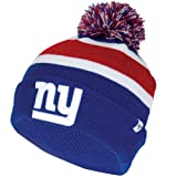 New York Giants Blue Cuff 'Breakaway' Beanie Hat with Pom - NFL NY Cuffed Winter Knit Toque Cap