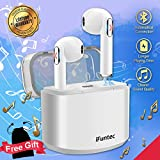 iFuntec Bluetooth Headphones, Wireless Headsets with Mic Compact In-Ear Mini Cordless Earphones Stereo Wireless Earbuds with Charging Case Ear buds Ear Pieces Compatible for Android Phones White