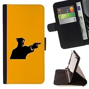 For Samsung Galaxy E5 E500 Case , Amarillo Mad individuo- la tarjeta de Crédito Slots PU Funda de cuero Monedero caso cubierta de piel