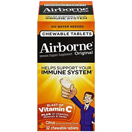 Airborne Citrus Chewable Tablets, 32 count - 1000mg of Vitamin C - Immune Support Supplement