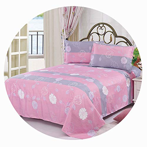 Qianqian Paper Crane Beauty Floral Printing Flat Sheet for Single Double Bed Children Adults Bedroom Use Flat Bed Sheet,8,2pcs Pillowcase