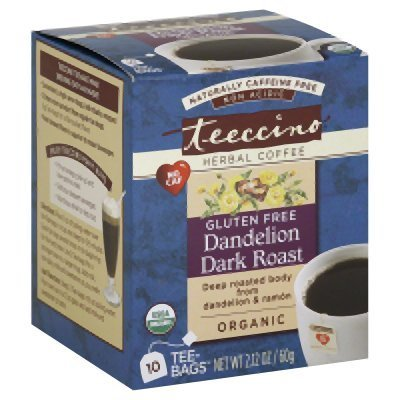 Teeccino Gluten Free Organic Chicory Herbal Tea Dandelion Caramel Nut Tea Bags, Caffeine Free, Acid Free, 10 Count (Pack of 6) (Wood Bleached Furniture Online)