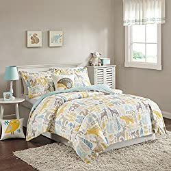 INK+IVY Kids Woodland Twin Kids Duvet Cover Bed Set - Yellow Aqua, Animal – 3 Piece Kids Girls Duvet Set – Cotton Childrens Bedding Set