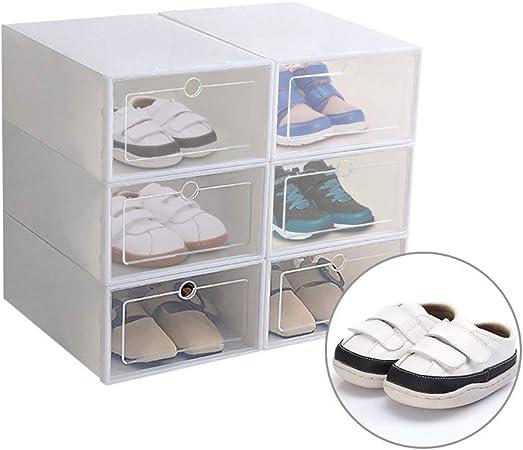 Ourleeme Caja De Zapatos Transparente De 6 Piezas, Caja De Zapatos Tipo Cajón Caja De Almacenamiento De Zapatos Plegable Transparente Engrosada Ahorre Espacio Organizadores, 31.5 * 21.3 * 12 Cm: Amazon.es: Hogar