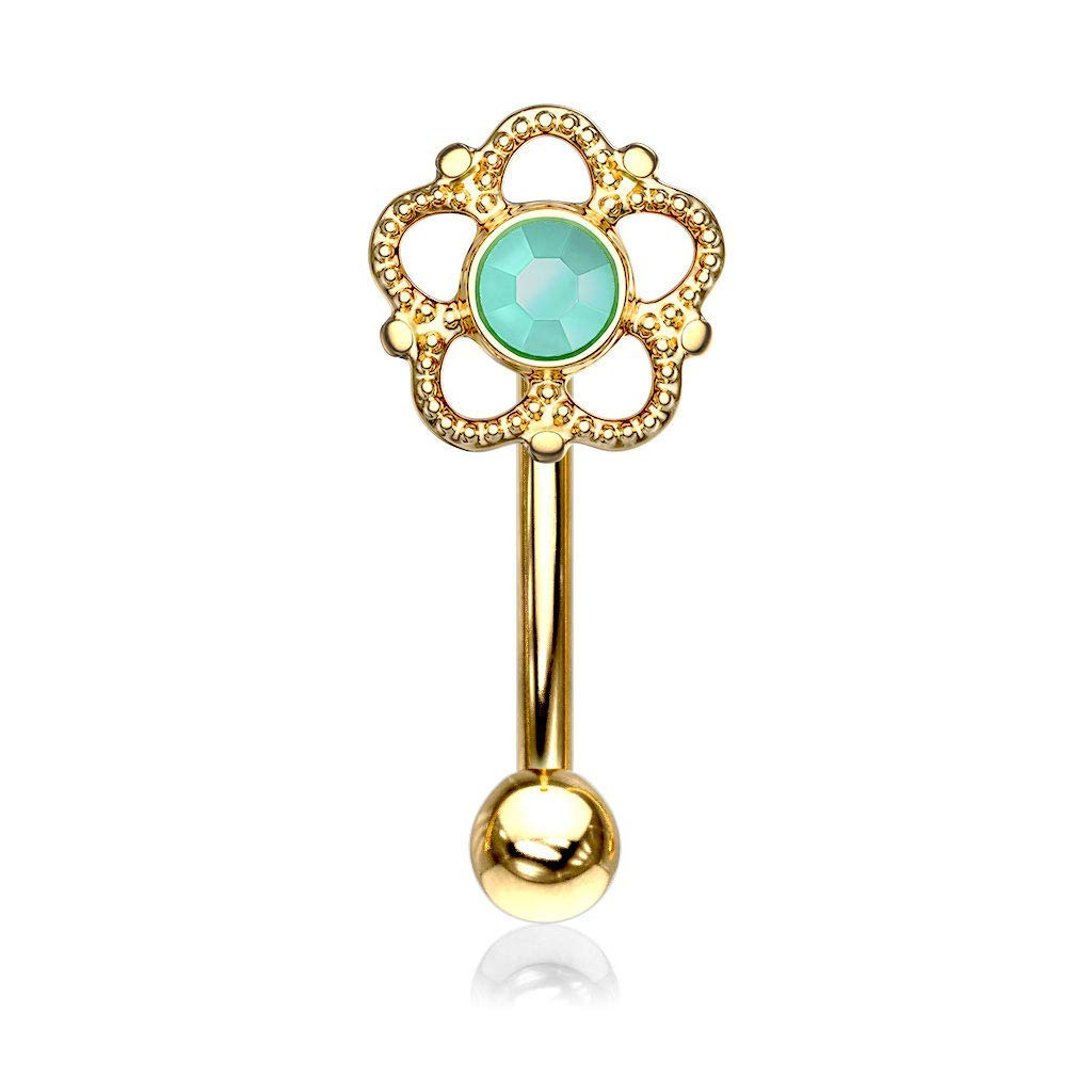 Covet Jewelry Flower Filigree Turquoise Center Top 316L Surgical Steel Eyebrow Ring//Curved Barbell