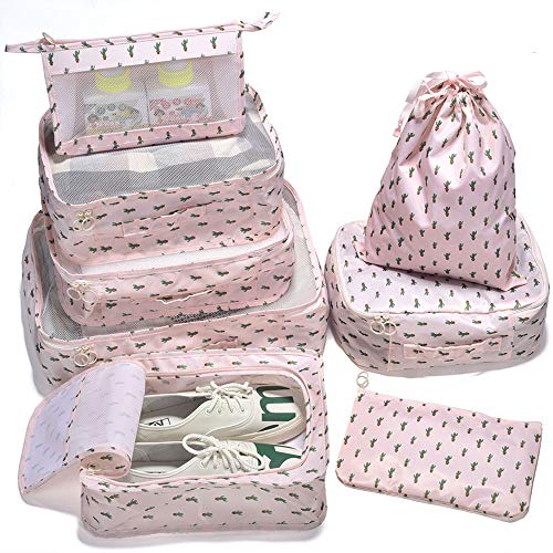 Arxus 8 Set Travel Waterproof Packing Organizers Cubes with Shoe Bag and Toiletry Bag (Cactus ()
