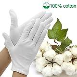 Jaciya Moisturizing Gloves Jaciya 10 Pairs Cotton Hand Spa Gloves Moisture Enhancing Gloves Cosmetic Moisturizing Gloves, White, Medium Size
