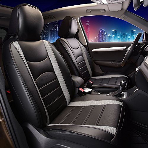 FH Group PU207GRAYBLACK102 Gray/Black Leatherette Car Seat Cushions Airbag Compatible (Car Seat Covers Nissan Versa 2018)