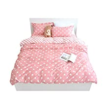 YOUSA Polka Dot Bedding Set Pink Duvet Cover Set Girls Bedding Queen