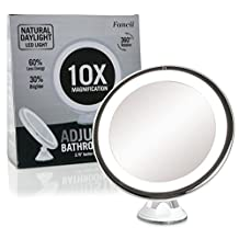 "Lighted Magnifying Makeup Mirror 10X - Adjustable Bright LED Vanity Mirror with Light - Locking Suction, Cordless, Battery Operated, 6"" Wide, Compact Illuminated Cosmetic Mirror"