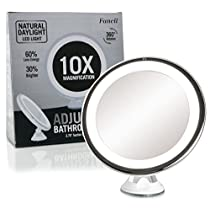 Fancii Daylight LED10X Magnifying Makeup Mirror - 8.0 Large Lighted Travel Vanity Mirror - Dimmable Light, Cordless, Battery Operated, Locking Suction, 360 Rotation, Portable & Illuminated