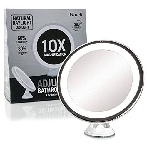 best vanity mirror for makeup. Fancii Daylight LED 10X Magnifying Makeup Mirror  8 0 Large Lighted Dimmable Light Cordless Operated Locking Suction 360 Rotation Best Vanity Amazon Com