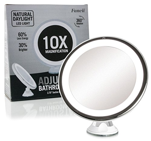 Fancii Daylight LED 10X Magnifying Makeup Mirror - 8.0' Large Lighted Travel Vanity Mirror - Dimmable Light, Cordless, Battery Operated, Locking Suction, 360 Rotation, Portable & Illuminated
