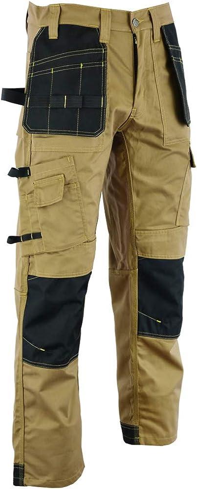 Gli uomini lavorano merci pantalone nero Heavy Duty multi tasche e tasche Knee Pad come Dewalt