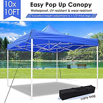 CooPee 10x10 EZ Portable Pop Up Canopy Tent Easy Set-up Folding Commercial Instant Shelter Outdoor Festival Party Straight Leg Canopy with Carrying Bag for Sport Event, Vendor Craft Show Canopy Blue : Garden & Outdoor