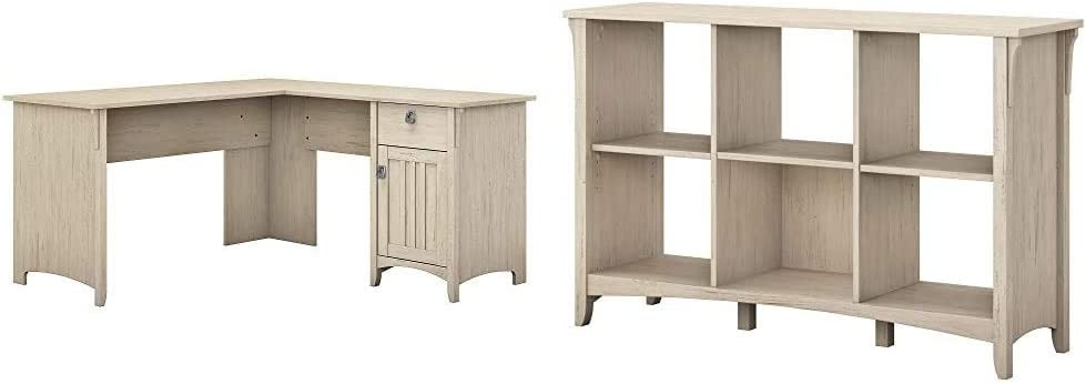 Bush Furniture Salinas L Shaped Desk with Storage in Antique White & Salinas 6 Cube Organizer in Antique White
