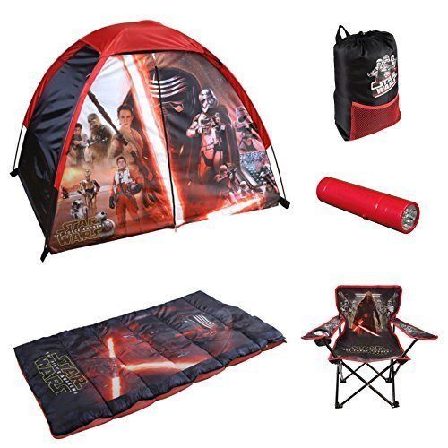 Disney Star Wars, Indoor / Outdoor 4' X 3' Dome Tent, Sleeping Bag, Sling Pack, Flashlight and Folding Armchair 6-piece Camp Kit by Disney (Image #1)