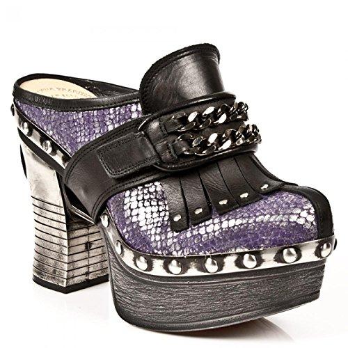 Nuovi Stivali Di Roccia M.z003-r1 Hardrock Gothic Punk Damen Pantofola Schwarz