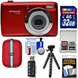 Polaroid iTT28 20MP 20x Zoom Digital Camera (Red) 32GB Card + Case + Flex Tripod + Kit