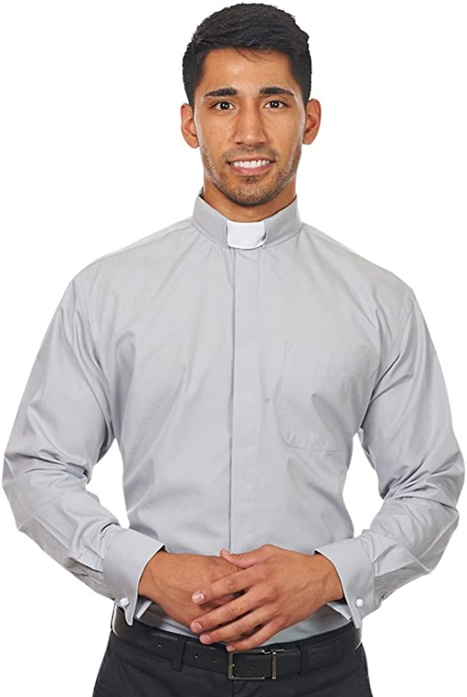 Silver Label By FHS Mens Long Sleeves Tab Collar Clergy Shirt Grey