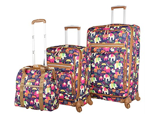 Lily Bloom Luggage 3 Piece Softside Spinner Suitcase Set Collection (Elephant Rain) by Lily Bloom