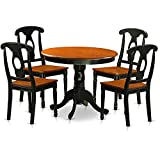 East West Furniture ANKE5-BLK-W Antique 5 Piece Dining Set Including 4 Wood Chairs in Black Finish For Sale