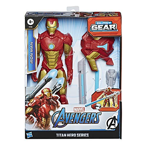 Avengers Marvel Titan Hero Series Blast Gear Iron Man Action Figure, 12″ Toy, with Launcher, 2 Accessories & Projectile, Ages 4 & Up