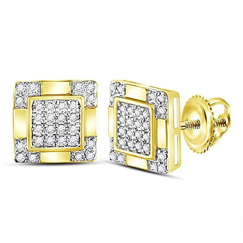 14kt Gold Birthstone Cluster Earrings (14kt Yellow Gold Mens Round Diamond Square Cluster Stud Earrings 1/6 Cttw)