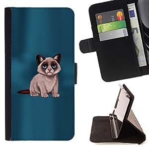 Momo Phone Case / Flip Funda de Cuero Case Cover - Gato gru?ón Siamese Cat Blue Eyes; - Samsung Galaxy S4 Mini i9190