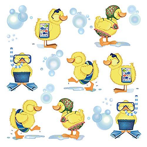 Baby Bathroom Decor Duck - ufengke Little Yellow Ducks Wall Stickers Kids Bathroom Removable Vinyl Wall Art Decals Wall Decor