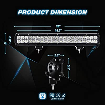 Nilight 20 Inch 126W LED Light Bars Spot Flood Combo Led Off Road Driving Lights Led Fog Lights Jeep Lights Boat Lighting LED Work Light, 2 Years Warranty