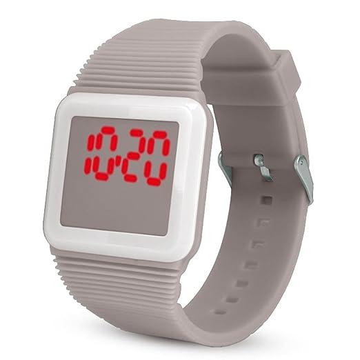 QinMM Deporte Muñeca Relojes Digitales LED Tecnología para Niños Niñas pulsera (Gris): Amazon.es: Relojes
