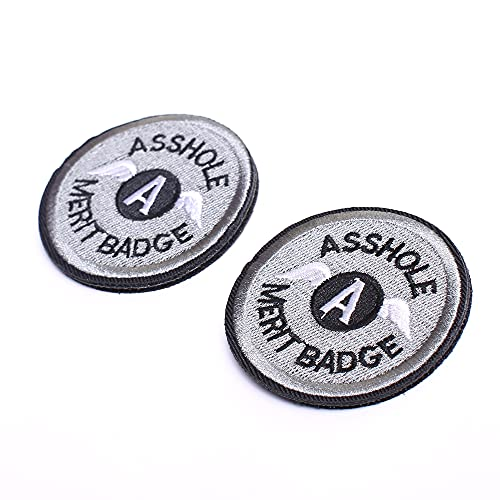 Asshole Merit Badge WZT Morale Patch, Funny Tactical Military Morale Patch Hook & Loop, Grey