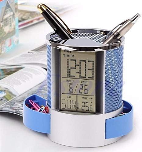 Schreibtisch Mesh-Feder-Bleistift-Halter-Pens Aufbewahrungsbehälter Ewiger Kalender Bürobedarf digitale Multifunktions-LED,ZhangJJun (Color : Blue)
