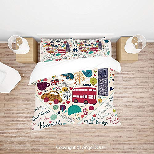 (PUTIEN 4 Pieces (1 Duvet Cover +1 Sheet+ 2 Pillow Shams) Home Bedding Sets Duvet Cover Sets,Colorful Symbols Red Bus Big Ben Tea Umbrella Hat Retro Black Cabin in a Heart Print,Quilt Cover for Women)