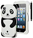 iPod Touch 5 Case, Bastex 3D Black and White Panda Bear Silicone Case for Apple iPod Touch 5, 5th GenerationINCLUDES Stylus [Compatible with iPod Touch 6]