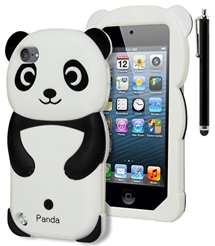 astex 3D Black and White Panda Bear Silicone Case for Apple iPod Touch 5, 5th GenerationINCLUDES STYLUS [Compatible with iPod Touch 6] ()