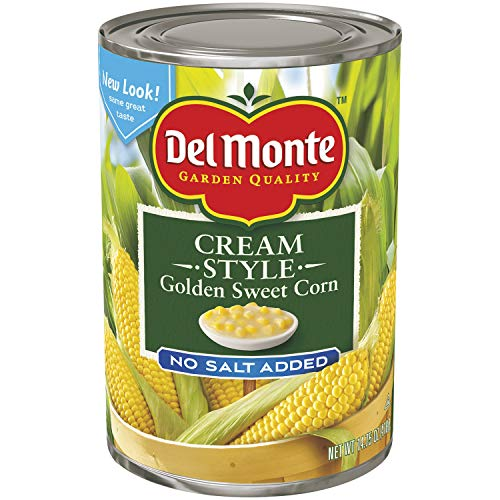 Del Monte Canned Golden Sweet Corn Cream Style No Salt Added, 14.75-Ounce (Pack of 12) (Style Sweet Corn Cream)