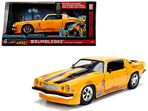 StarSun Depot 1977 Chevrolet Camaro Concept Bumblebee Yellow from Transformers Movie Hollywood Rides Series 1/24 Diecast Model Car Jada Metals